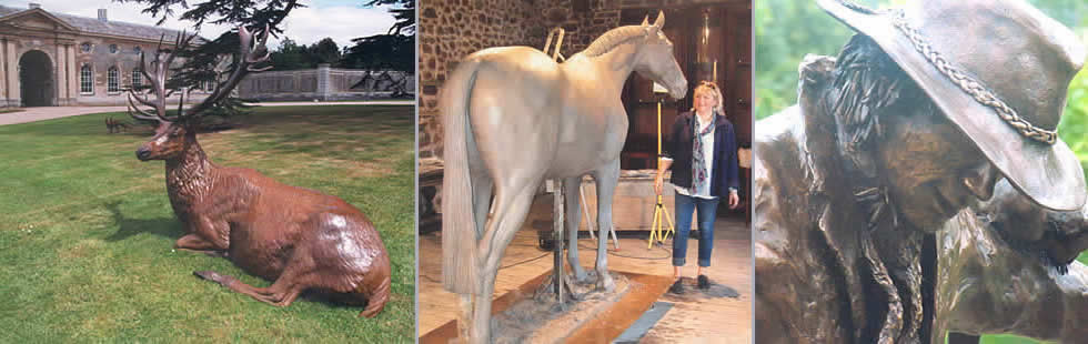 Woburn stag, Sculptor Mairi Hunt with her lifesize horse sculpture, lifesize sculpture of scarecrow